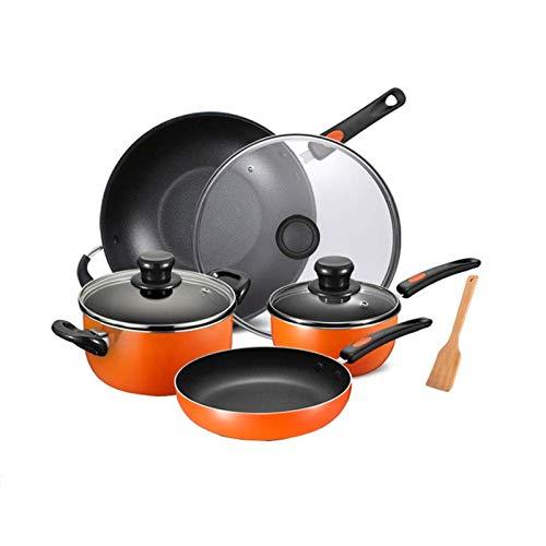HIZLJJ Juego de utensilios de cocina de aluminio antiadherente de 4 piezas, juego de ollas y sartenes de aluminio, olla y sartén con asa y tapa de acero inoxidable, adecuado para inducción, gas, elect