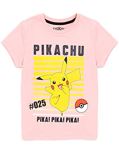 Pokemon Camiseta Chicas niños Pikachu Personaje Juego de Manga Corta Rosa Top 7-8 años