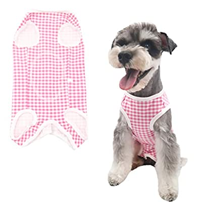 Due Felice Dog Professional Surgical Recovery Suit for Abdominal Wounds Skin Diseases, After Surgery Wear, E-Collar Alternative for Dogs, Home Indoor Pets Clothing, Pink Plaid/L