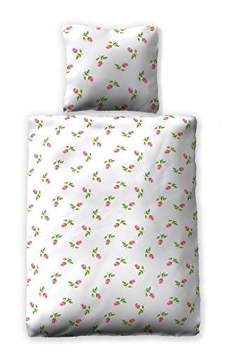 jilda-tex Seersucker-Bettwäsche Sommerbettwäsche Bed of Roses 135x200 cm + 80x80 cm Ökotex-100 100{12dbfc4f17f6f374c7fb1b56064c81731aeebcbf8bbb3cc749b29fcb77969be8} Baumwolle mit Reißverschluss Rosen