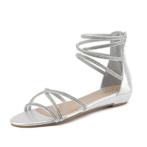 DREAM PAIRS Women's Weitz Silver Ankle Strap Rhinestones Low Wedge Sandals - 7.5 M US