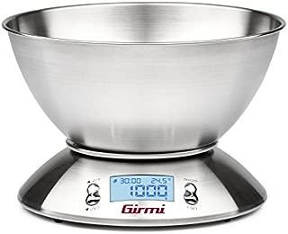 Girmi PS85 Mesa Alrededor Báscula electrónica de cocina Acero inoxidable - Báscula de cocina (Báscula electrónica de cocina, 5 kg, 1 g, Acero inoxidable, Acero inoxidable, Acero inoxidable)