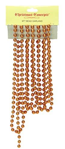 Christmas Concepts 9ft Christmas Bead Chain - Christmas Bead Garlands - Christmas Decorations (Copper)