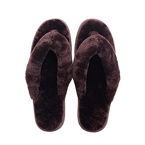 ZXQYLFLY Zapatillas de Dibujos Animados,Sandalias de casa Zapatos, Fondo Suave Plano, Flush, Suelo de Madera, Silencio, Zapatillas-Marrón 1_42-43