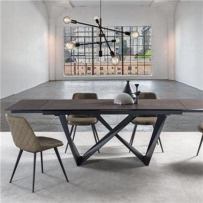 Mesa extensible 160 cm de cerámica efecto mármol antracita Alby