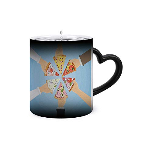 Hands holding pizza.USA,Funny Coffee Ceramics Mug Ceramic Color Changing Coffee Tea Mug Pizza 11oz