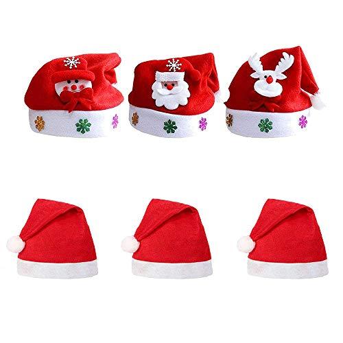 rosepartyh Cappello di Natale Cappello di Natale per Bambini Deluxe Cappello di Peluche per Bambini Costume da Babbo Natale Ornamenti Natalizi 6 Pezzi