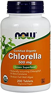 NOW Foods - Chlorella Green Superfood Certified Organic 500 mg. - 200 Tablets pack of 2.