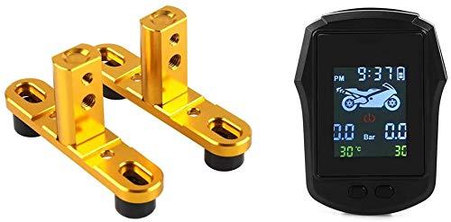 KAUTO 2 Juegos de Accesorios de Motocicleta: 1 Juego de Soporte de Foco y 1 Juego de Sistema de monitorización Digital de presión de neumáticos TPMS LCD