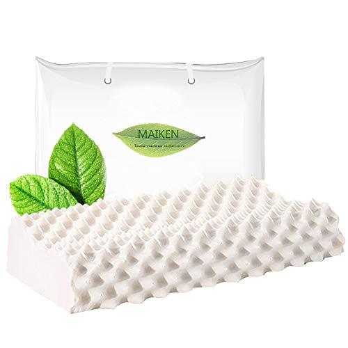 HKPLDE Latex Kissen Nackenstützkissen weich Naturlatex Memory Foam Kopfkissen Antischnarch Ergonomisches-Weiß