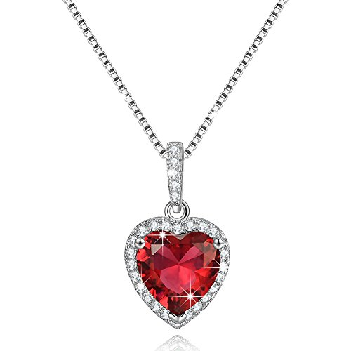Mothers Day Gifts Created July Birthstone Necklace Simulated Ruby Necklace Love Heart Necklace Sterling Silver Gifts for Women
