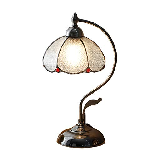 Bedlampje tafellamp Amerikaanse tafellamp slaapkamer studeerkamer retro tafellamp Zuiverheid China oude Shanghai Middellandse Zee-glas tafellamp QIQIDEDIAN
