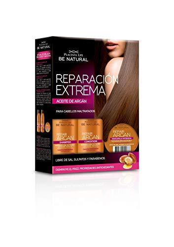 Be Natural, Kit de reparación extrema Repair Argán con Aceite de Argán, Pack de champú, acondicionador y mascarilla