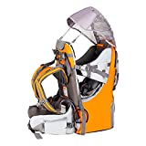 Baby Backpack Carrier, Safe Toddler Hiking Backpack Carrier Camping Child Carriers with Rain Cover Child Kid Sun Shade Large Storage Space Insulated Pocket, Adjustable Padded Child Seat(A-Orange)