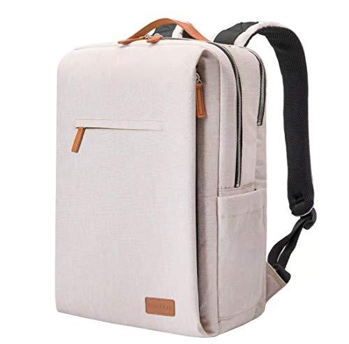 Rucksack Herren,smart Laptop Rucksack wasserdicht Schulrucksack Herren Daypack Backpack Men rucksäcke Herren Schule 15,6 Zoll Laptop Rucksack USB (beige)