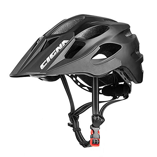 CIGNA Mountain Bike Helmet with Detachable Visor and Rechargeable Rear Light, Adjustable MTB Cycling Bicycle Helmets for Adults Men/Women 21.65-24 Inches