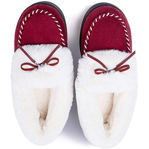 RockDove Women's Trapper Moc Memory Foam Slipper, Size 8-9 US Women, Ruby