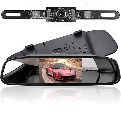 podofo Cámaras de Marcha Atrás Inalámbrica 4.3 'TFT LCD Espejo Retrovisor Monitor Invirtiendo Cámara de Visión Nocturna