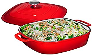 Enameled Cast Iron Casserole Square Braiser - Pan with Cover, 3.8-Quart, Fire Red