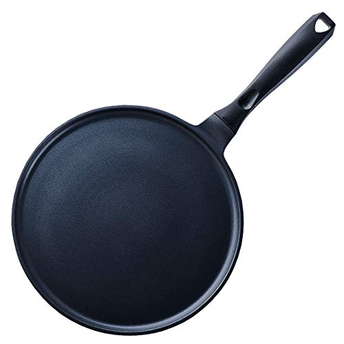 S·KITCHN Crepe Pan Nonstick Die-cast Aluminum Non-stick Induction Compatible Flat Tawa Griddle - 11Inches