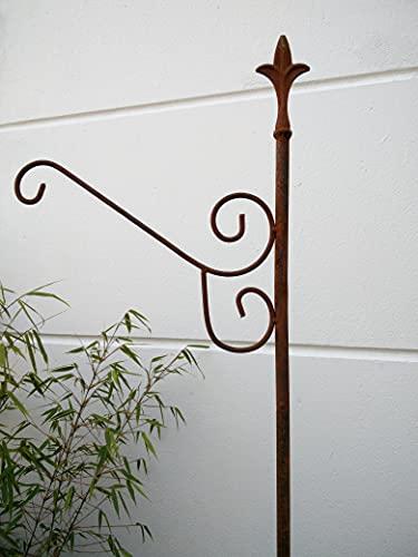Zen Man Edelrost Metall Gartenstab Laternenstab Haken aus Metall Rost für Blumenampel Garten Blumenampelhalter H180*39cm 031388