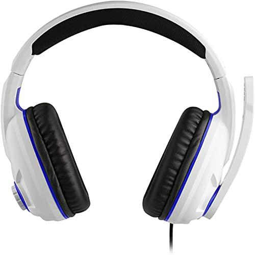 DCLife - Cuffie per PS5, con cancellazione del rumore, con luce a LED, per Nintendo Switch e PC, paraorecchie delicati sulla pelle, leggere e traspiranti, multipiattaforma (bianco)
