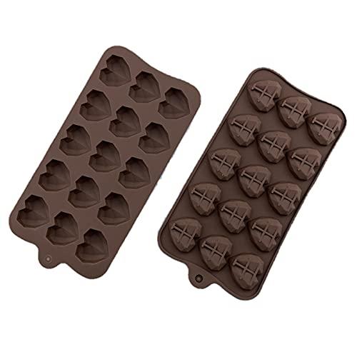 JTKJ Molde De Hielo De Chocolate Molde De Amor De Diamante De Silicona Vela De Caramelo Pudín De Gelatina Molde De Hielo Diy Para HornearColor chocolate15 rejillas*2