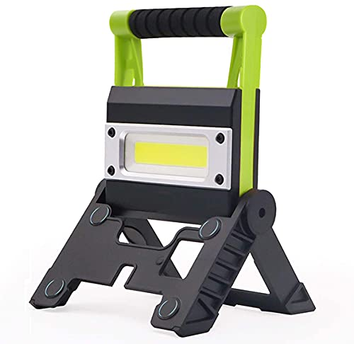 Gwendool Super Bright Flood Light LED Work Light, 5000LM 12W Portable Mini Work Lights with Folding Stand, Waterproof Spotlights for Camping Hiking Emergency Car Repairing Fishing