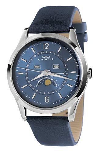 Reloj Capital con fase de luna, fecha, día, mes, correa de piel azul, AX791