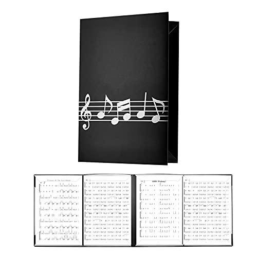 LAMEK 4 Seitig Notenmappe für Notenblätter Aufklappbar Notenordner Faltbar Musikordner Schwarz Notenblatthalter Musik Notenständer Noten Präsentationsmappe für Klavier Gitarre Violine