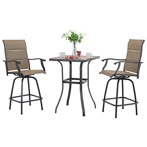 Sophia & William Outdoor Swivel Bar Stool Set of 3, 2 Padded Textilene Patio Bar Chair with 1 Bar Table for Bistro Lawn All Weather Furniture Set, Brown