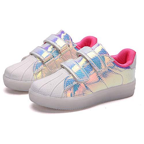 Inrrari Unisex Kids Color Colorido LED Luminoso Zapatillas de Deporte al Aire Libre Sombrillas para niños Parpadeando Zapatos Intermitentes USB Carga de Zapatos de Entrenador de bajo Rendimiento.