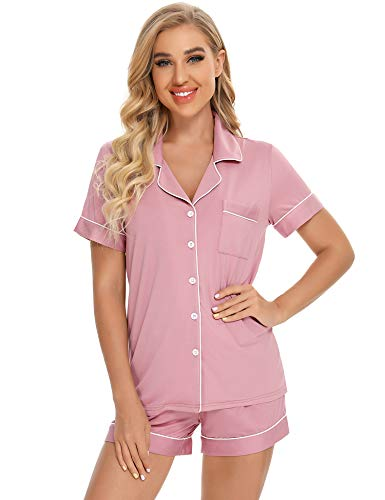 Samring Womens Pajama Sets Short Sleeve Sleepwear Button Down Nightwear Shorts Lounge Set for Women S-XXL (Dusty Rose, XL)