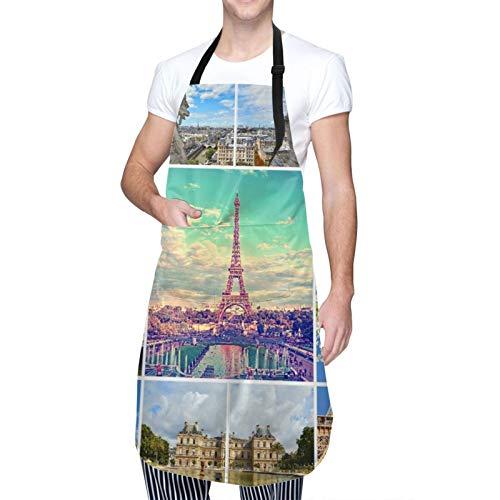 Ajustable Colgante de Cuello Personalizado Delantal Impermeable,Hermosas fotos de la Torre Eiffel de París y otros lugares famosos y monumentos de París,Babero de Cocina Vestido con 2 Bolsillos