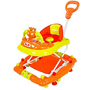BAYBEE Forza The Anti Fall Baby Walker Cum Rocker with Adjustable Height and Musical Toy Bar Rattles and Activity Toys-Round Ultra Soft Seat Cycle (Orange)