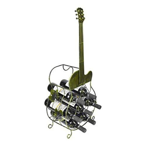 CAPRILO. Botellero Decorativo de Metal y Madera para Botellas Guitarra Española. Muebles Auxiliares. Menaje de Cocina. Regalos Originales. 80 x 34 x 18 cm.