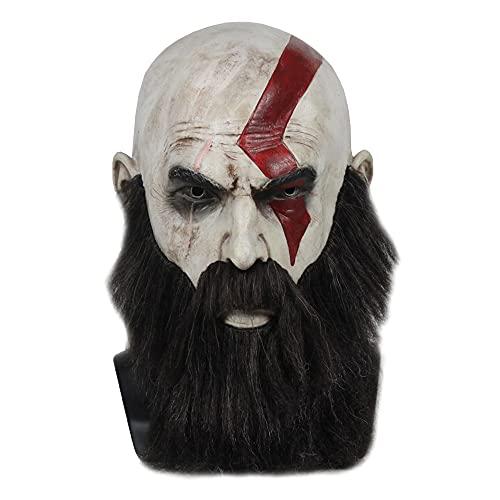 XiaoYing Accesorios de vacaciones Game God of War Terror Máscara de látex con barba Cosplay Party Helmet Props (Color: A, tamaño: M)