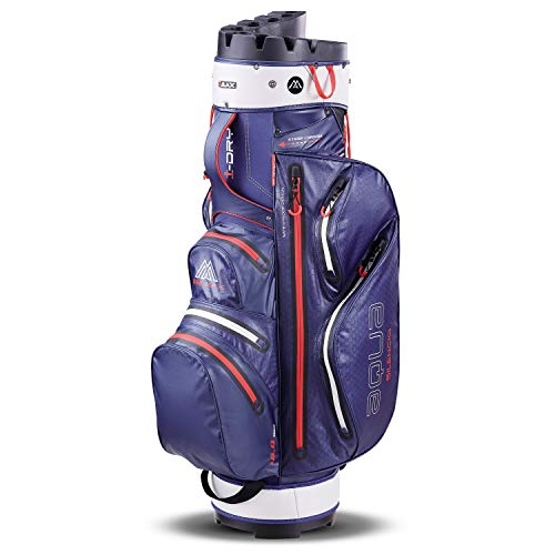 Big Max Aqua Silencio 3 Golf Cartbag 2020-100% wasserdichte Golftasche (Navy/Silver/Red)