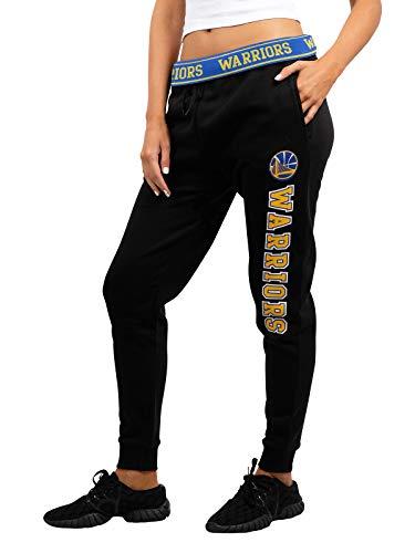 Ultra Game Womens NBA Jogger Pants Active Basic Fleece Sweatpants Navy, Golden State Warriors, Black, Medium