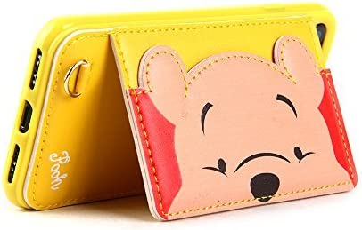Yellow Winnie the Pooh Bear Leather Case with Card Holder Stand for iPhone 7 8 iPhone7 iPhone8 Regular Size Kickstand Cartoon Protective Shockproof Cute Lovely Chic Gift Kids Boys Girls Little Girls