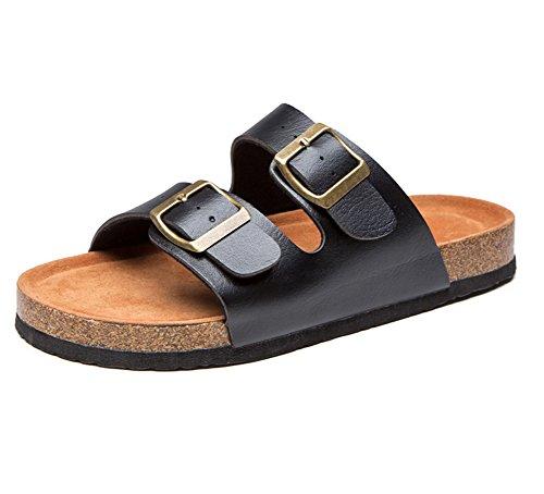 Sandali Unisex - Adulto, con Cinghie A Doppia Fibbia, Sandali con Cinturino alla Caviglia, Scarpe Estive di Sughero Nero Etichetta 40