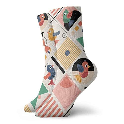 Kevin-Shop Klassiker Kompressionssocken, Bauhaus-Birds Sport Athletic 30 cm Lange Crew-Socken für Männer Frauen