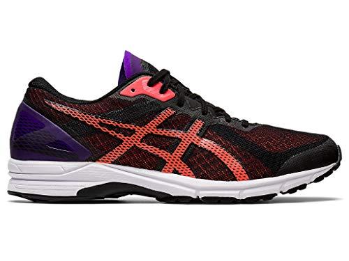 ASICS Men's Heatracer 2 Running Shoes, 8, Black/Flash Coral