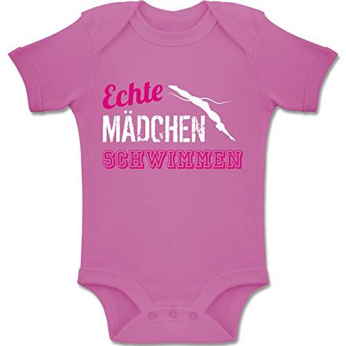 Sport Baby - Echte Mädchen Schwimmen - 12/18 Monate - Pink - BZ10 - Baby Body Kurzarm für Jungen und Mädchen