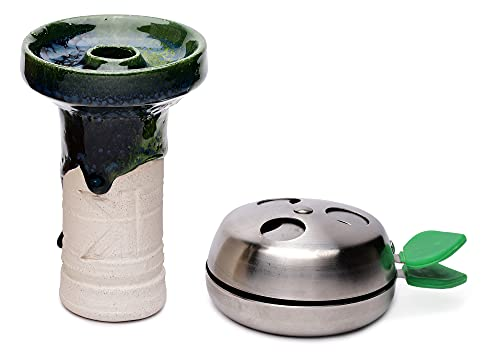 NBK PHUNNEL Verde Cazoleta Cachimba Ceramica Artesanal + Gestor de Calor Shisha Provost | Shisha Cazoleta Barro Blanco con chamota | Acero inoxidable para carbones | Accesorio Hookah Premium