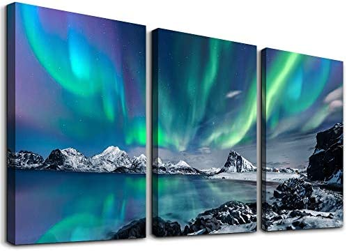 farmhouse Wall Art Aurora Scenery Painting on Canvas Wall decorations for living room Stretched product image