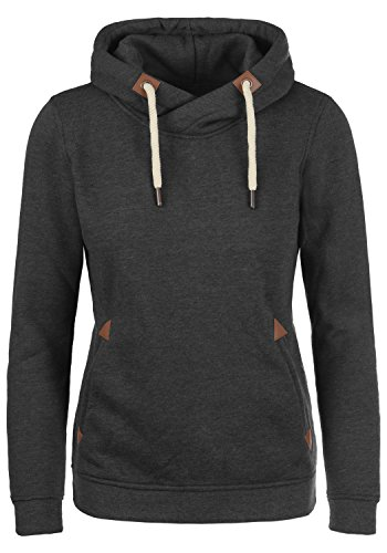 DESIRES VickyHood Damen Damen Hoodie Kapuzenpullover Pullover Mit Kapuze Cross-Over-Kragen Und Fleece-Innenseite, Größe:XS, Farbe:Dark Grey Melange (8288)