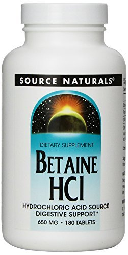 Source Naturals | Betain HCL | 650 mg | 180 vegetarische Tabletten | glutenfrei