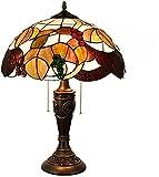 MARUA 16 Pollici Classico Stained Glass Lampada da Tavolo, Sala Tiffany UVA Gioielli di Design Comodino Stile Lampada con La Vecchia Base per Lo Studio Vivaio Vita, Button
