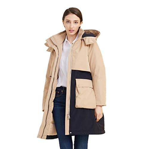 Houd donsjack in OL stijl met kap en een hoge kraag for dames, boog ontwerp, winddicht, Herfst en Winter Warm, S, M, L, XL, 1pc (Color : Khaki, Size : XL)